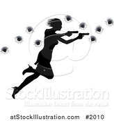 Vector Illustration of a Femme Fatale Shooting with Two Guns over Bullet Holes by AtStockIllustration