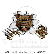 Vector Illustration of a Ferocious Brown Wolf Slashing and Breaking Through a Wall by AtStockIllustration