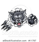 Vector Illustration of a Ferocious Gray Wolf Slashing Through a Wall by AtStockIllustration