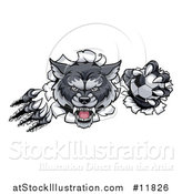 Vector Illustration of a Ferocious Gray Wolf Slashing Through a Wall with a Soccer Ball by AtStockIllustration