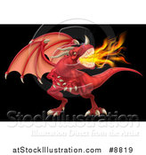 Vector Illustration of a Fierce Angry Red Fire Breathing Dragon with a Horned Nose, on Black by AtStockIllustration