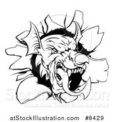 Vector Illustration of a Fierce Black and White Welsh Dragon Mascot Head Breaking Through a Wall by AtStockIllustration