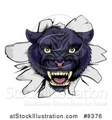Vector Illustration of a Fierce Black Panther Breaking Through a Wall by AtStockIllustration