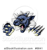 Vector Illustration of a Fierce Black Panther Shredding Through a Wall by AtStockIllustration