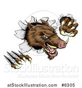 Vector Illustration of a Fierce Brown Boar Monster Clawing Through a Wall by AtStockIllustration