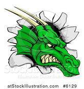 Vector Illustration of a Fierce Green Dragon Mascot Head Breaking Through a Wall by AtStockIllustration