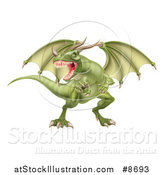 Vector Illustration of a Fierce Green Dragon with a Horned Nose by AtStockIllustration
