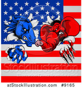 Vector Illustration of a Fierce Political Aggressive Democratic Donkey or Horse and Republican Elephant Shredding Through an American Flag by AtStockIllustration