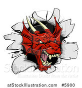 Vector Illustration of a Fierce Red Dragon Mascot Head Breaking Through a Wall by AtStockIllustration