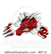 Vector Illustration of a Fierce Red Dragon Mascot Head Shredding Through a Wall by AtStockIllustration
