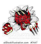 Vector Illustration of a Fierce Red Dragon Mascot Slashing Through a Wall by AtStockIllustration