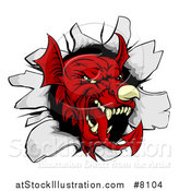 Vector Illustration of a Fierce Red Welsh Dragon Mascot Head Breaking Through a Wall by AtStockIllustration