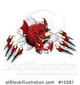 Vector Illustration of a Fierce Red Welsh Dragon Mascot Shredding Through a Wall by AtStockIllustration