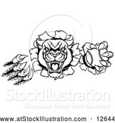 Vector Illustration of a Fierce Roaring Panther Baseball Mascot Shredding Through a Wall - Black Outline by AtStockIllustration