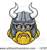 Vector Illustration of a Fierce Viking Warrior Confidently Wearing Horned Helmet by AtStockIllustration