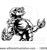 Vector Illustration of a Fierce Werewolf Mascot Howling Aggressively - Black and White by AtStockIllustration
