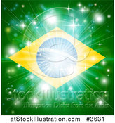 Vector Illustration of a Firework Burst over a Brazil Flag by AtStockIllustration