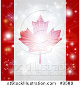 Vector Illustration of a Firework Burst over a Canadian Flag by AtStockIllustration