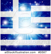 Vector Illustration of a Firework Burst over a Greek Flag by AtStockIllustration