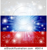 Vector Illustration of a Firework Burst over a Russian Flag by AtStockIllustration