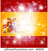 Vector Illustration of a Firework Burst over a Spanish Flag by AtStockIllustration