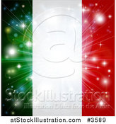 Vector Illustration of a Firework Burst over an Italian Flag by AtStockIllustration