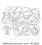 Vector Illustration of a Fishing Line Maze with a Garden Gnome, Hammer, Fish and Clock by AtStockIllustration