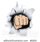 Vector Illustration of a Fist Punching Through Paper by AtStockIllustration