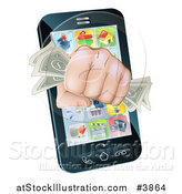 Vector Illustration of a Fist with Cash Emerging from a Smart Phone by AtStockIllustration