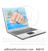 Vector Illustration of a Fist with Money Punching Through a Laptop Computer by AtStockIllustration