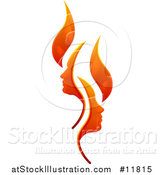 Vector Illustration of a Flame Design with Profiled Faces by AtStockIllustration
