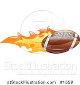Vector Illustration of a Flaming American Football Flying past by AtStockIllustration
