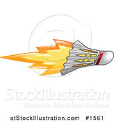 Vector Illustration of a Flaming Badminton Shuttlecock Flying past by AtStockIllustration