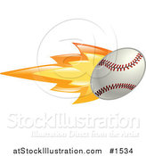 Vector Illustration of a Flaming Baseball Flying past by AtStockIllustration