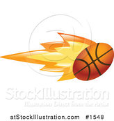 Vector Illustration of a Flaming Basketball Flying past by AtStockIllustration