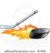 Vector Illustration of a Flaming Black Hockey Puck Flying Away from a Hockey Stick by AtStockIllustration