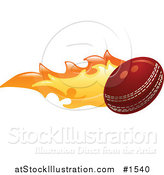 Vector Illustration of a Flaming Cricket Ball Flying past by AtStockIllustration