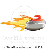 Vector Illustration of a Flaming Curling Stone Flying past by AtStockIllustration