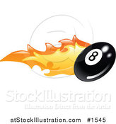Vector Illustration of a Flaming Eight Ball Flying past by AtStockIllustration