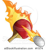 Vector Illustration of a Flaming Pink Pong Paddle Whacking a Ball by AtStockIllustration