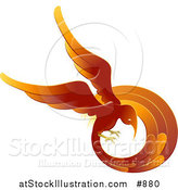 Vector Illustration of a Flaming Red and Orange Phoenix Fire Bird Flying in a Circle, Symbolizing Rebirth by AtStockIllustration