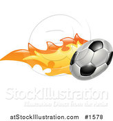 Vector Illustration of a Flaming Soccer Ball Flying past by AtStockIllustration