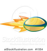 Vector Illustration of a Flaming Yellow Rugby Ball Flying past by AtStockIllustration