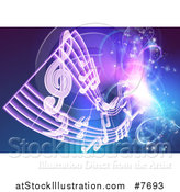 Vector Illustration of a Floating Sheet Music over Blue with Magical Lights by AtStockIllustration