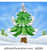 Vector Illustration of a Flocked Evergreen Tree in a Hilly Snow Landscape by AtStockIllustration