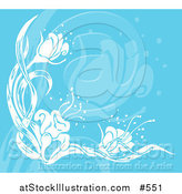 Vector Illustration of a Flower Background in Blue and White by AtStockIllustration