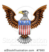 Vector Illustration of a Flying American Bald Eagle with a USA Flag Shield by AtStockIllustration