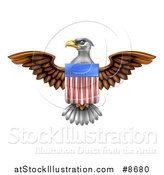 Vector Illustration of a Flying Bald Eagle with an American Flag Shield by AtStockIllustration