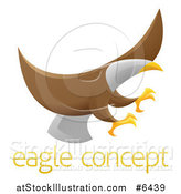 Vector Illustration of a Flying Bald Eagle with Extended Talons over Sample Text by AtStockIllustration