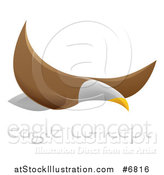 Vector Illustration of a Flying Bald Eagle with Sample Text by AtStockIllustration
